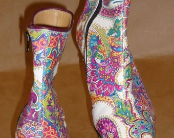 Paisley Kid Leather Ankle Boot, Made to order in your size