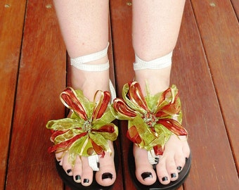 Leather Sandal - My Pick - Attachment - Pear green leather with ribbons of green, rust and taupe
