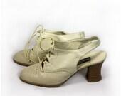 RESERVED LISTING Vintage slingback beige oxford style shoes