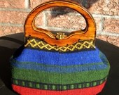 Vintage multicolored purse/hand bag with wood handle