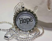 HOPE in blue bottle cap glass pendant necklace