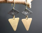 Black Magic Woman - Geometric Two-Tone Triangle Earrings with Mysterious Stamped Eye