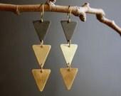 Landslide - Geometric Two-Tone Stacked Triangle Earrings