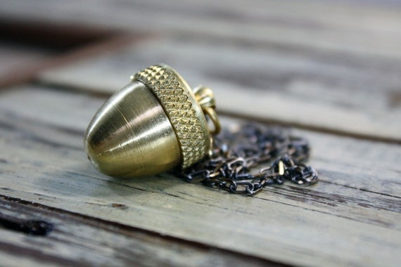 Acorn Canister Locket Woodland Necklace or Mini Cremation Urn for Pet Ashes