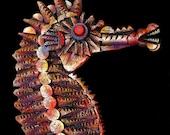 SEAHORSE CORK CARVING Painted Folk Art  - Ocean Fish