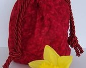Red Petals Booty Bag (Not Beaded. Black Satin Lining)