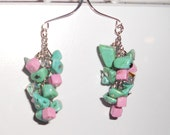 Cotton Candy Earrings, Pink and teal, Cluster, Sparkle, Long, Unique, Handmade, Fashion Jewelry