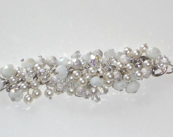 Made to order - Beautiful, Sparkling, Crystal, Silver, White, Chunky, Wedding, Bridal Bracelet, Handmade, Fashion Jewelry