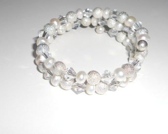 Bridal Jewelry, Wedding Bracelet -Sparkling, Sterling SIlver, Fresh Water Pearls, Clear Crystals, Fashion Jewelry