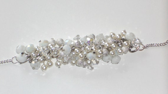 Made to order - Beautiful, Sparkling, Crystal, Silver, White, Chunky, Wedding, Bridal Bracelet, Handmade, Fashion Jewelry