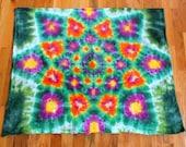 Tie Dye Tapestry - Lotus Blossom Mandala - Garden Star - 38in x 30 in. - Ready to Ship