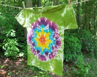 Tie Dye T-shirt - Rainbow Mandala - Youth Large Hanes Beefy T - Ready to Ship