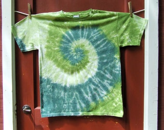 Tie Dye Tshirt - Youth Large - Be Green - Swirl - Ready to Ship