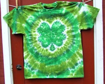Shamrock  4Leaf Clover Tie Dye T-Shirt - Made To Order - Adult Sizes S, M, L, XL, 2XL