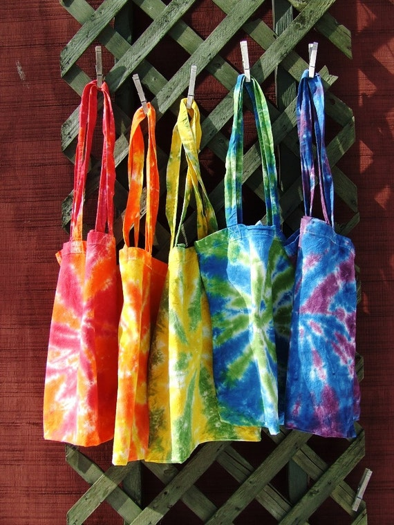 Set of 5 Organic Cotton Tie Dye Market Bags with Long Handles - Rainbow Swirl