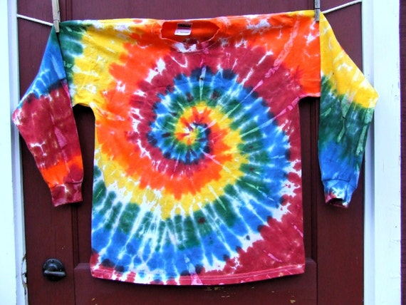 Long Sleeve Tie Dye T-Shirt - Youth Large - Bold Rainbow Swirl - Ready to Ship