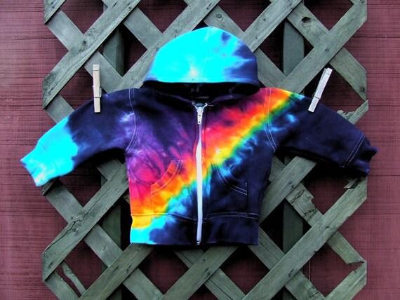 Tie Dye Baby Hoodie - Full Zip Hooded Sweatshirt with Pockets - Midnight Rainbow Bandolier - 6m