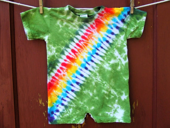 Tie Dye Baby Romper - Forest Rainbow Bandoleer - 24 months - Ready to Ship