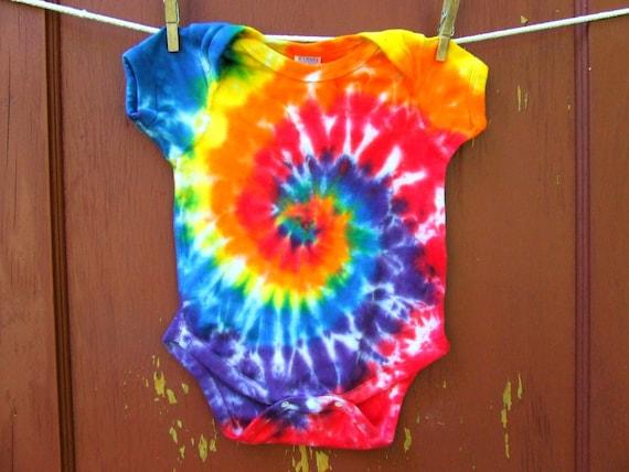 Tie Dye Baby Onesie - Classic Rainbow Swirl - 18 months - Ready to Ship