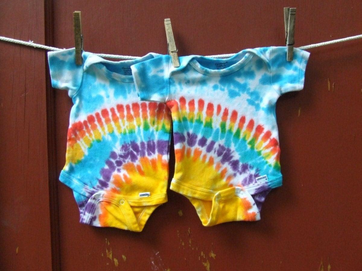 Tie Dye Baby Onesies Twin Set of 2 Rainbow Sunshine