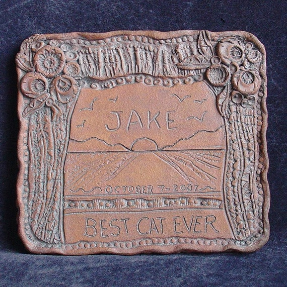 RESERVED for DAN - Custom pet memorial - Ceramic clay plaque by Teri the potter at Last Chants Studio