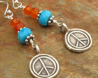 Turquoise Carnelian Thai Hill Tribe Silver Earrings - Peace