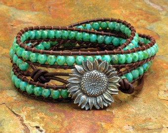 Czech Glass Leather Triple Wrap Bracelet - Turquoise Picasso