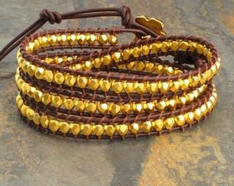 Gold Czech Glass Leather Triple Wrap Bracelet - Golden Nuggets