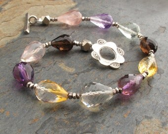 Gemstone Thai Hill Tribe Silver Bracelet - Mixed Gemstone