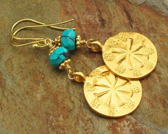 Turquoise Gold Vermeil Earrings - Gold Medallions