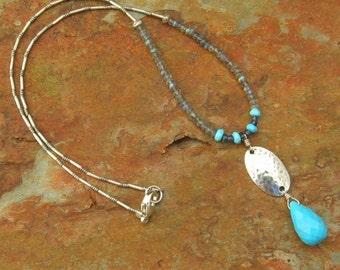 Labradorite Turquoise Thai Sterling Silver Necklace - Arizona