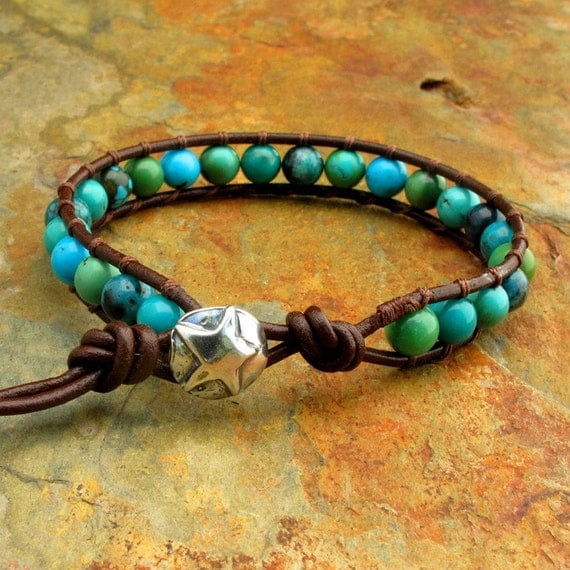 Turquoise Sterling Silver Leather Bracelet - Rodeo