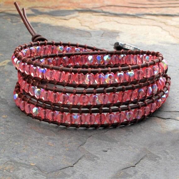Czech Glass Leather Triple Wrap Bracelet - Padparadscha Pink