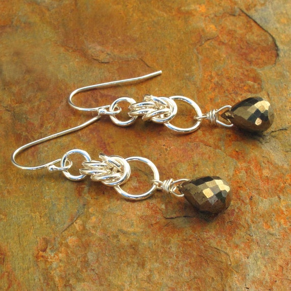 Pyrite Sterling Silver Earrings - Byzantine Bronze