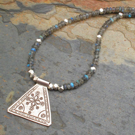 Labradorite Thai Hill Tribe Silver Necklace - Shiva