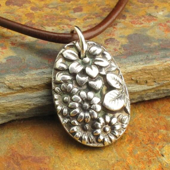 Fine Silver Flower Necklace - Vintage Bouquet