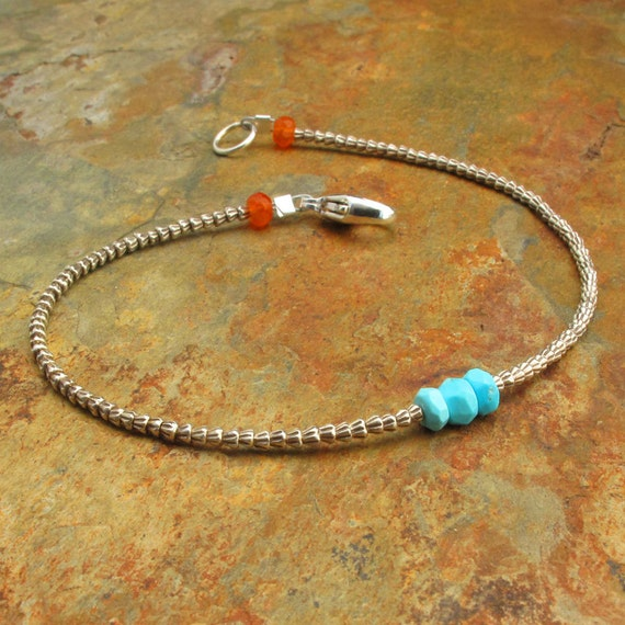 Turquoise Carnelian Thai Hill Tribe Silver Bracelet - Sleeping Beauties