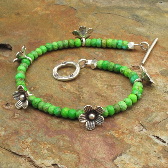 Green Turquoise Thai Hill Tribe Silver Bracelet - Meadow