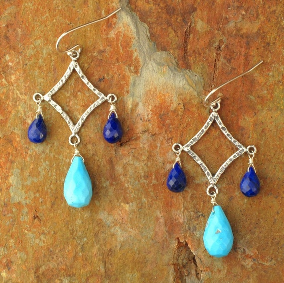 Sleeping Beauty Turquoise Lapis Lazuli Chandelier Earrings