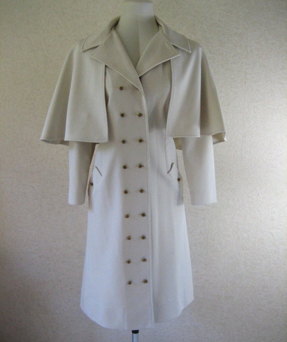 Vintage 1960's White Spy Girl Trench Coat Removable Cape