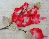 Vintage  Millinery  Velvet leaves Millinery  Flowers marked  made in Japan- red shaded Chiffon