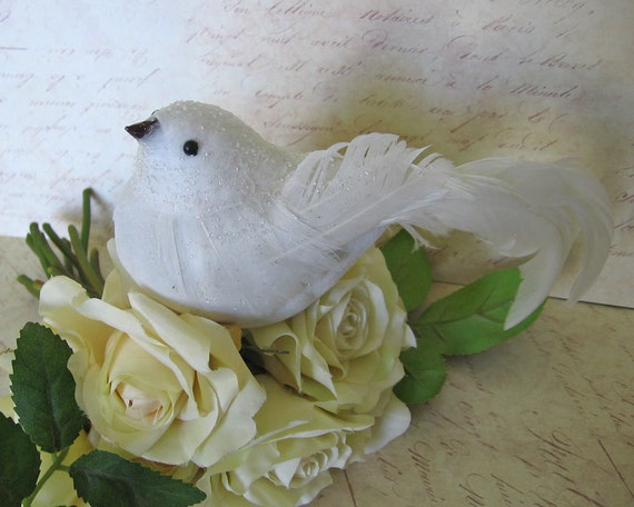White Dove-Christmas Tree Topper-Frosted With By