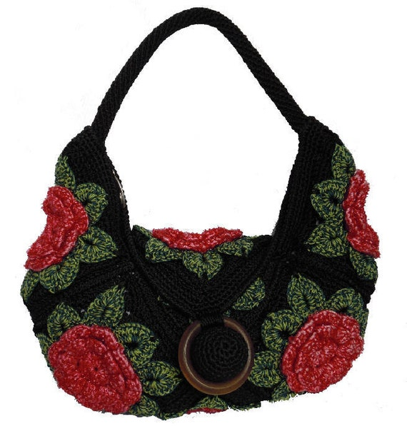 Handmade Crochet Handbags : ... similar to Handmade crochet hook handbag hobo women black bag on Etsy