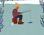ice fishing print