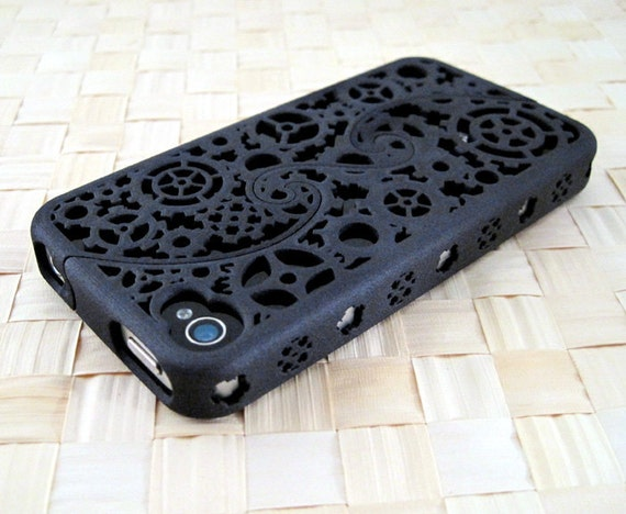 MADE TO ORDER (5-8 weeks) Designer iPhone 4S & 4 Steampunk Inspired Cogs and Gear Puzzle Case (3D printed Nylon) - 5 color options