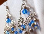 Blue Jardin chandelier earrings