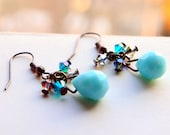 Solid aquamarine dangle earrings in gunmetal earwire