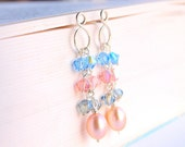 Infinity pastel earrings with blue, pink, and gray swarovski