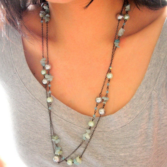 Silver Tosca convertible long necklace in gunmetal chain
