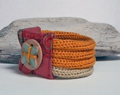 Cotton yarn bracelet QUATTRO - mustard yellow and sand - One of a kind and ready to ship